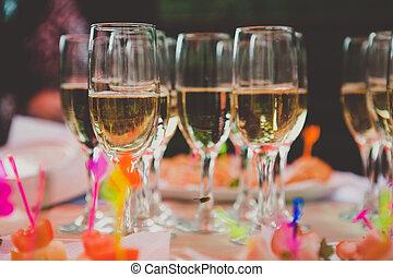 matrimonio,  champagne, pieno, occhiali