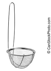 Metal Sieve Isolated - Isolated macro image of a metal...