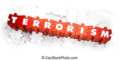 Terrorism - Word on Red Puzzles. Selective Focus. 3D Render.