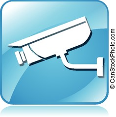 camera surveillance blue square icon - illustration of...