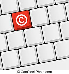 Copyright protection - Keyboard with icon copyright. Legal...