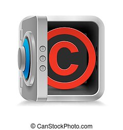 Copyright protection - Red copyright symbol inside the safe...