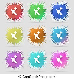 Cursor, arrow plus, add icon sign. A set of nine original needle buttons. Vector