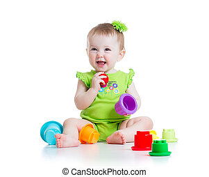 little girl playing with toys - child little girl playing...