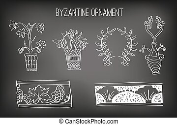 Byzantine Ornament Painted White Chalk on a Blackboard,...