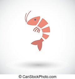 Shrimp. Single flat icon on white background. Vector...
