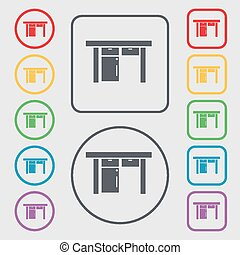 Table icon sign. symbol on the Round and square buttons with frame. Vector