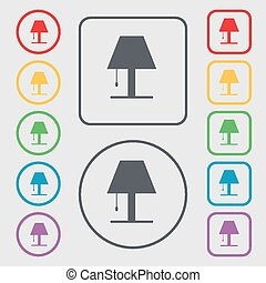 Lamp icon sign. symbol on the Round and square buttons with frame. Vector