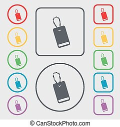 army chains icon sign. symbol on the Round and square buttons with frame. Vector