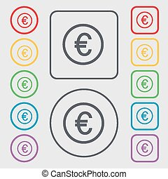 Euro icon sign. symbol on the Round and square buttons with frame. Vector