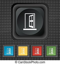 Door, Enter or exit icon sign. symbol Squared colourful buttons on black texture. Vector