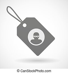 Shopping label icon with a thief
