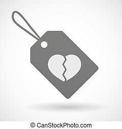 Shopping label icon with a broken heart - Illustration of a...