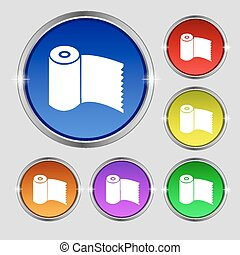 Toilet paper, WC roll icon sign Round symbol on bright...