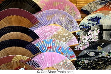 Conjunto, de, japonés, plegadizo, Fans, ,