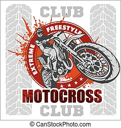 Motocross, desporto, emblema,