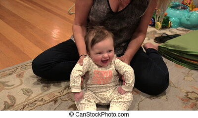Baby Smiling and Giggling While Seate - Baby smiling and...