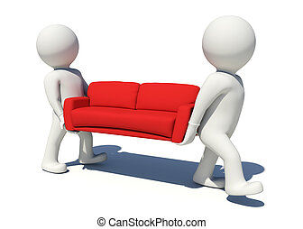 Two worker carrying red couch Isolated render on white...