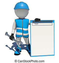 Worker in blue overalls holding wrench and empty clipboard. Isolated