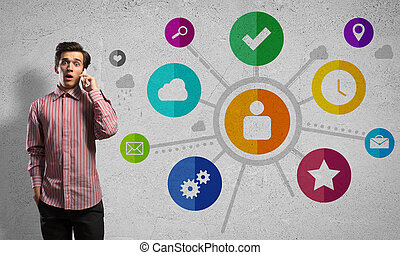 User interface - Man talking mobile phone and color...