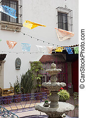 Fountain in the courtyard - the city of Tijuana, Mexico, in...