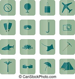 Tourism icons, vector.