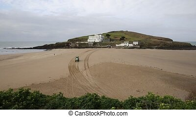 Vehicle driving Burgh Island Devon - Vehicle driving to...