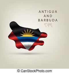 Flag of Antigua and Barbuda as  country with a shadow