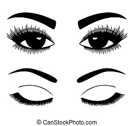 silhouettes of eyebrows and eyes - Black silhouettes of...
