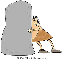 Caveman pushing a large boulder - This illustration depicts...