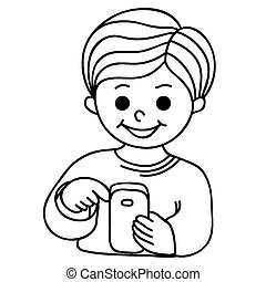 Smiling boy texting with cellular phone. Cartoon hand-drawn...