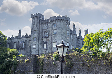 antique street lamp and castle view - beautiful antique...