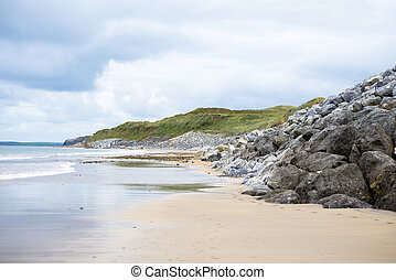 ballybunion beach beside the links golf course in county...