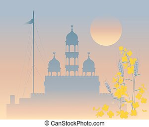 evening gurdwara - a vector illustration in eps 10 format of...
