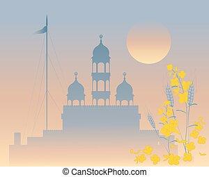 evening gurdwara - a vector illustration in eps 10 format of...