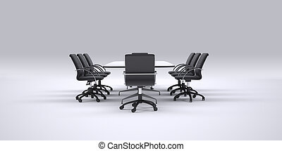 Conference table and office chairs