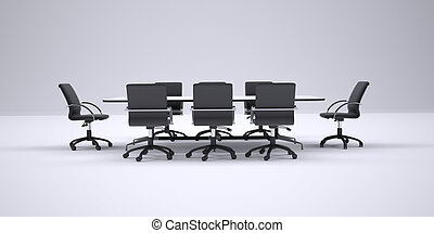 Conference table and black office chairs