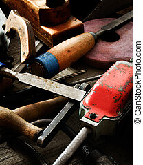 老, 工作, 木制, 很多, 鑿子, 統治者, 背景, 操練,  (, 工具,  others)