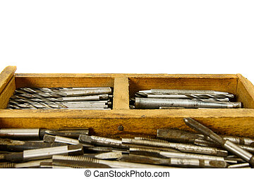 Vintage working drills on white background - Old working box...
