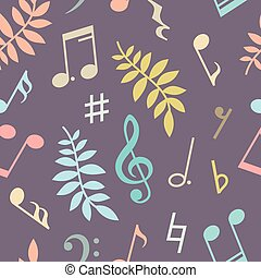 Seamless pattern of music notes and leaves. Vector...