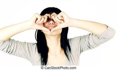 girl sending kisses with love - Happy girl sending kisses...