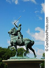Joan of Arc - saint Joan of Arc Statue in old Quebec city,...