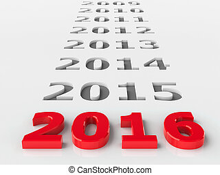 2016 past represents the new year 2016, three-dimensional...