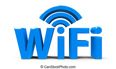 WiFi symbol - Blue wifi symbol, icon or button isolated on...