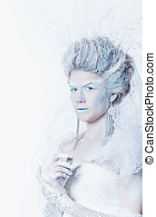 Snow queen with unusual makeup - Mysterious and unusual girl...