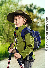 tourist boy - Portrait of a cute 7 years old boy in tourist...