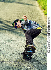active freetime - Cool 7 year old boy with his skateboard on...