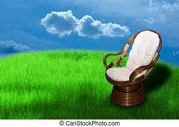 Rocking chair on green grass background
