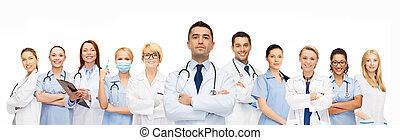 group of medics with stethoscopes - healthcare, profession,...