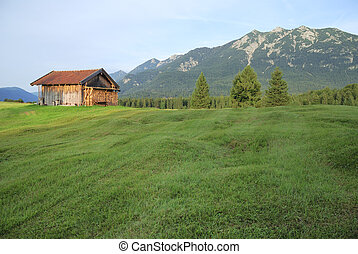 Mountain hut in the alps of Bavaria Karwendel mountains...